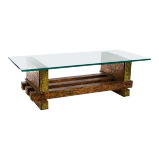 Mid-Century Brutalist Copper and Brass Glass Top Coffee Table For Sale