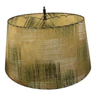 Vintage Mid Century Modern Beige Fiberglass Lamp Shade With Green Accents For Sale