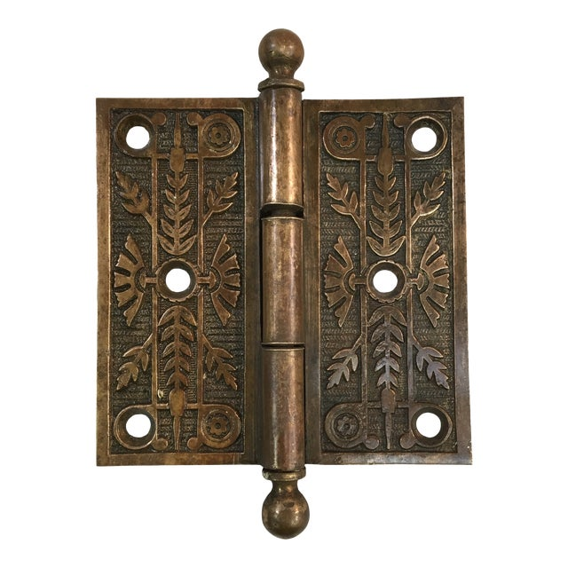Antique Victorian Eastlake Brass Door Hinge For Sale
