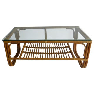 Vintage Mid-Century Bamboo Coffee Table For Sale
