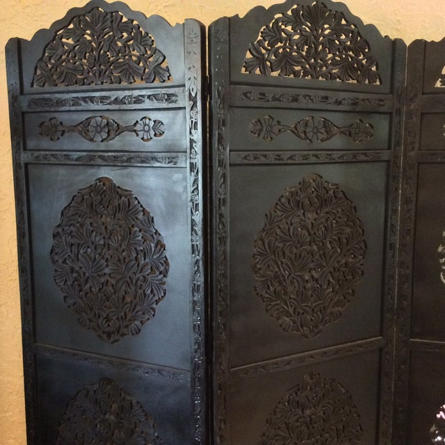 Boho Chic Moroccan Wooden Carved Screen For Sale - Image 3 of 5