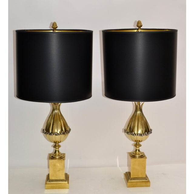 Maison Charles French Art Deco Lotus Bronze Table Lamp Black & Gold Shade - Pair For Sale - Image 12 of 13