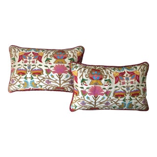 Antique Silk Embroidered Pillows - a Pair For Sale