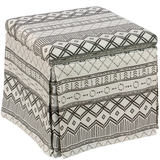 White Kuba Ink Skirted Storage Ottoman For Sale - Image 8 of 10