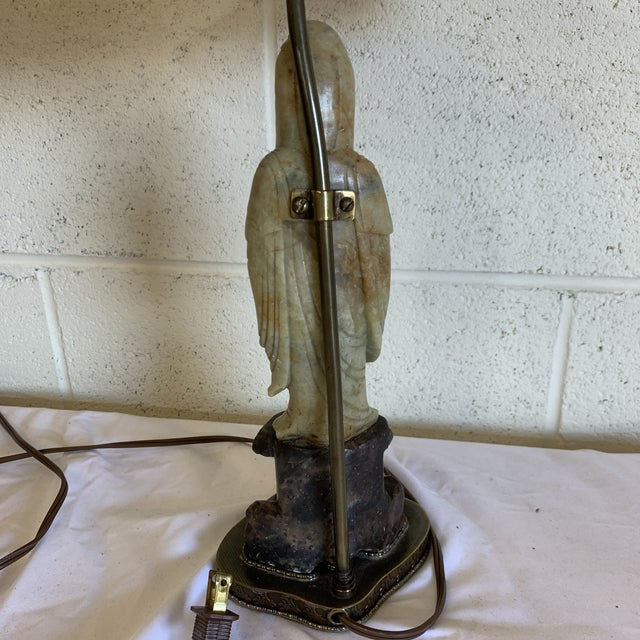 Vintage Petite Marble Soap Stone Kwan Yin Lamp For Sale - Image 11 of 13
