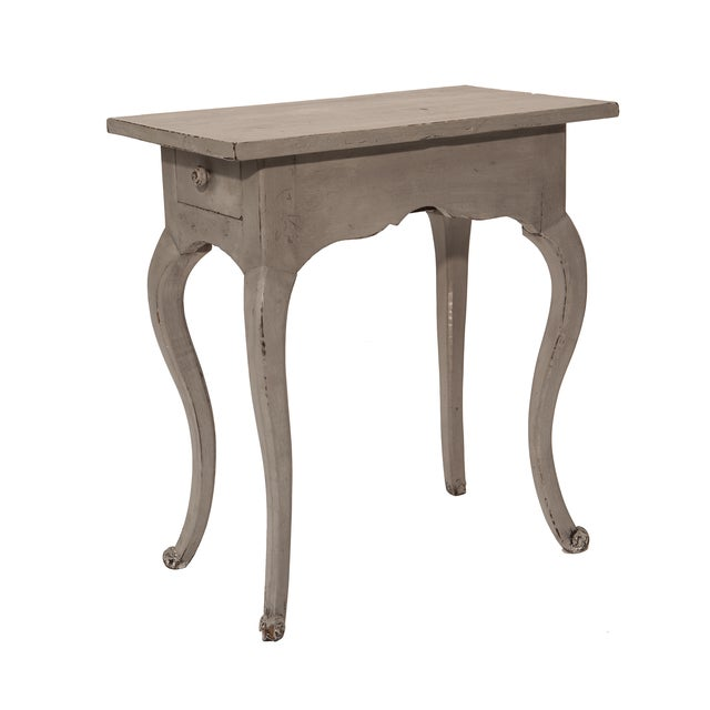 Louis XV-Style Petite Gray Side Table - Image 1 of 2