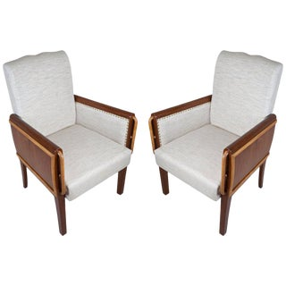 Pair of Teak and Satinwood Mid-Century Modern Armchairs For Sale