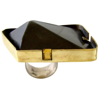 Heidi Abrahamson Sterling Silver Brass Pyramid Ring For Sale