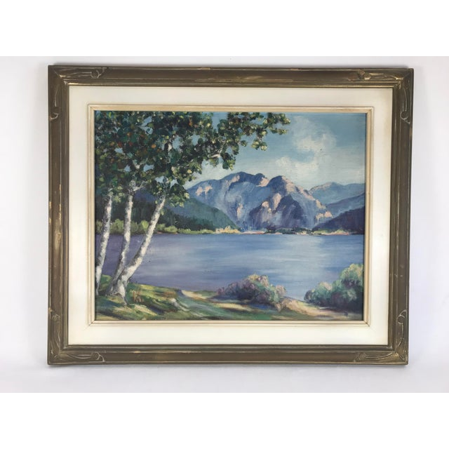 1940's Original Oil on Canvas Mountain Landscape Signed For Sale - Image 13 of 13