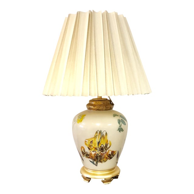 Chinoiserie Style Floral & Botanical Table Lamp For Sale