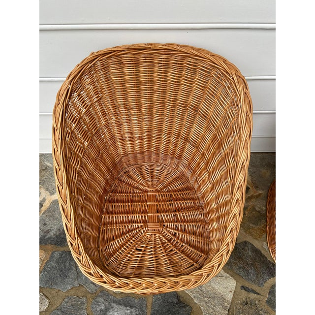 Vintage Boho Chic Wicker Scoop Chairs - a Pair For Sale - Image 4 of 10