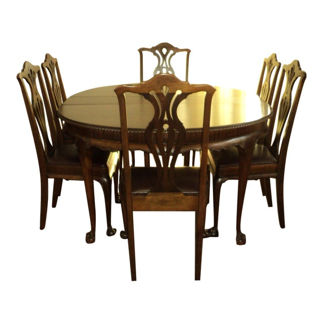 "Antique Walnut ""Chippendale Style"" Round Table & 6 Chairs For Sale"