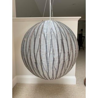 Gray and Black Stripe Woven Globe Pendant Light Preview