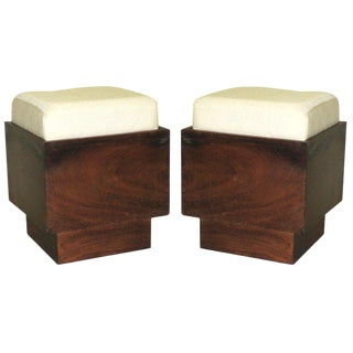 Iconic Pair of French Colonial Stools, French Indochina, 1930