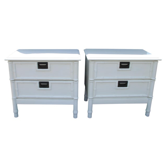 1990s Thomasville Hollywood Regency Faux Bamboo Nightstands - a Pair Will Paint in Any Desired Color for an Additional Fee. For Sale - Image 5 of 5