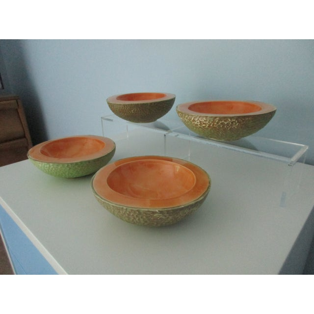 Boho Chic Vintage Cantaloupe Serving Bowls - Set of 4 For Sale - Image 3 of 13