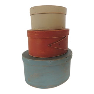 Set of 3 Red, Blue and Tan Wooden Shaker Boxes For Sale