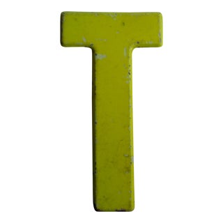 Vintage Rustic Metal Neon Yellow Letter 'T' Sign