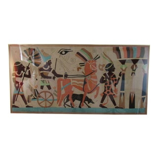 Vintage Fabric Applique Panel of Ancient Egyptian Procession For Sale