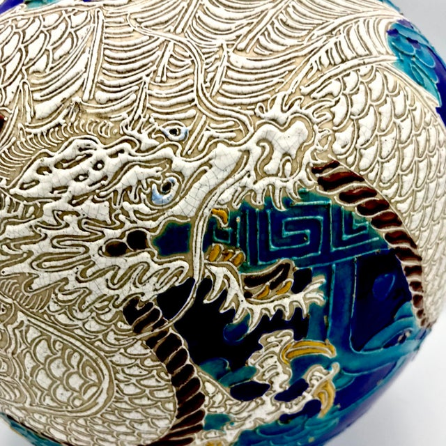 Just wow! Late Qing dynasty Dragon themed Fahua Ware in bright turquoise, deep blue, and white alkaline glaze with yellow...