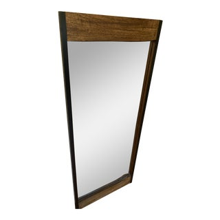 Walnut Brown Wood Leaner Mirror With Live Edge For Sale