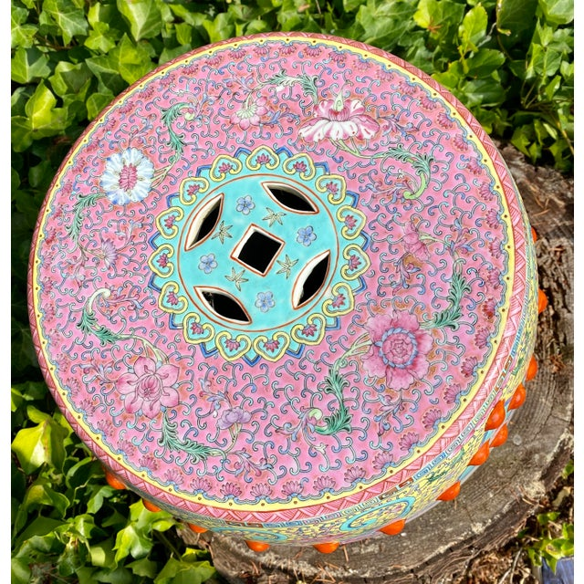 Ceramic Vintage Mid-Century Chinese Famille Rose Porcelain Garden Seat For Sale - Image 7 of 13