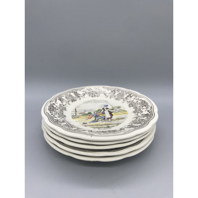 Figurative Gien France D' Un Mariage a La Campagne Plates - Set of 5 For Sale - Image 3 of 9