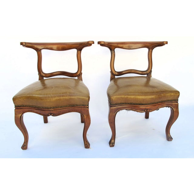 English Regency Leather Side Chairs - Pair - Image 2 of 5