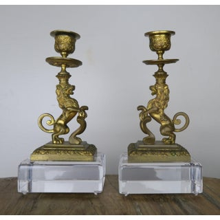 Bronze Lion Candleholders on Lucite Bases, Pair Preview