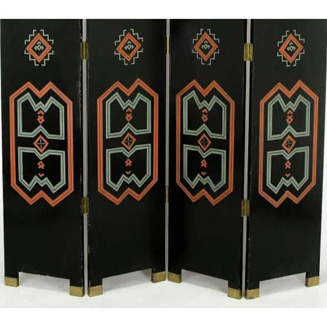Wood Colorful Carved & Parcel Gilt Art Deco Style Four-Panel Screen For Sale - Image 7 of 7