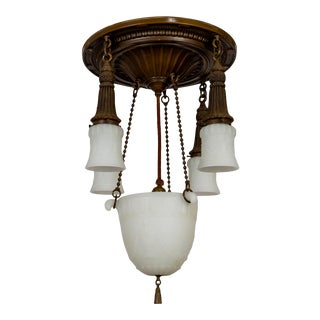 Early 20th Century Brass & Milk Glass Pan Style Chandelier W/ Rope & Urn Details For Sale