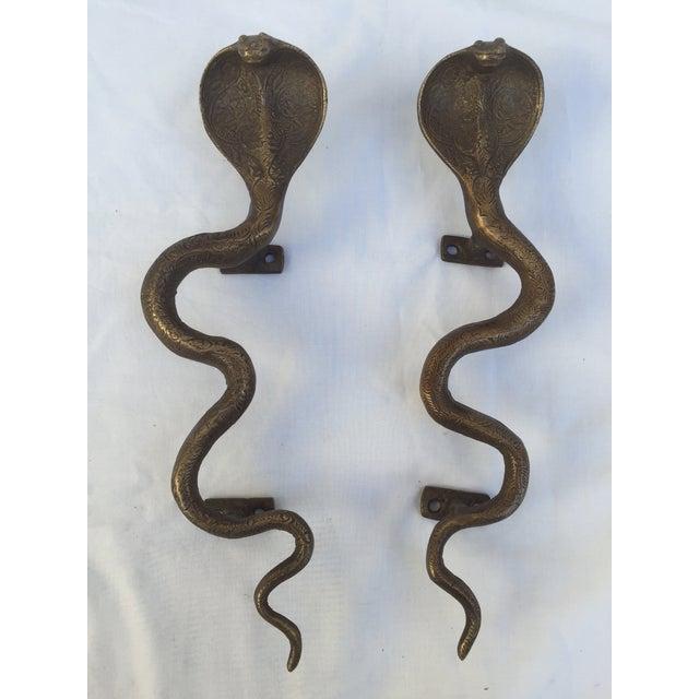 Brass Cobra Door Handles - A Pair - Image 4 of 8