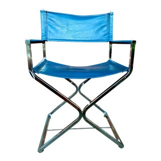 Vintage Blue and Chrome Milo Baughman Director's Chair For Sale