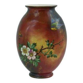 Antique Hand Painted French Vase #2, Flowers with a Bird