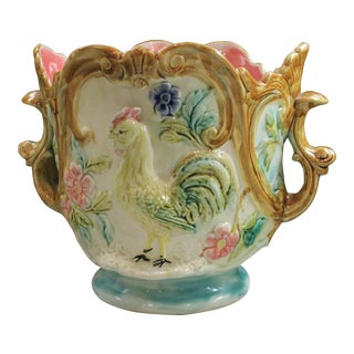 1900 Antique French Majolica Onnaing Jardiniere Planter Vase For Sale
