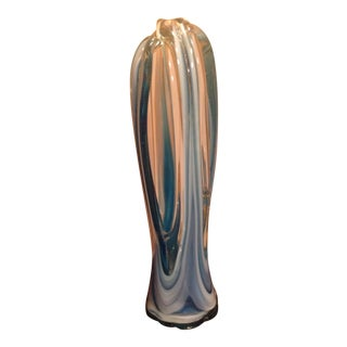 Mid Century Blue Murano Art Glass Vase For Sale