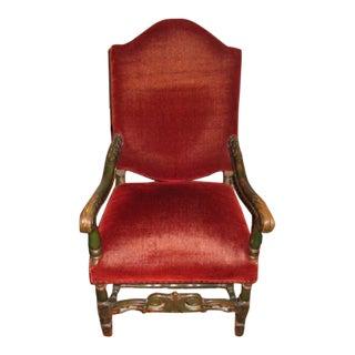 "Antique ""Throne"" Chair"" Original Red Mohair Fabric - Very Ralph Lauren!"