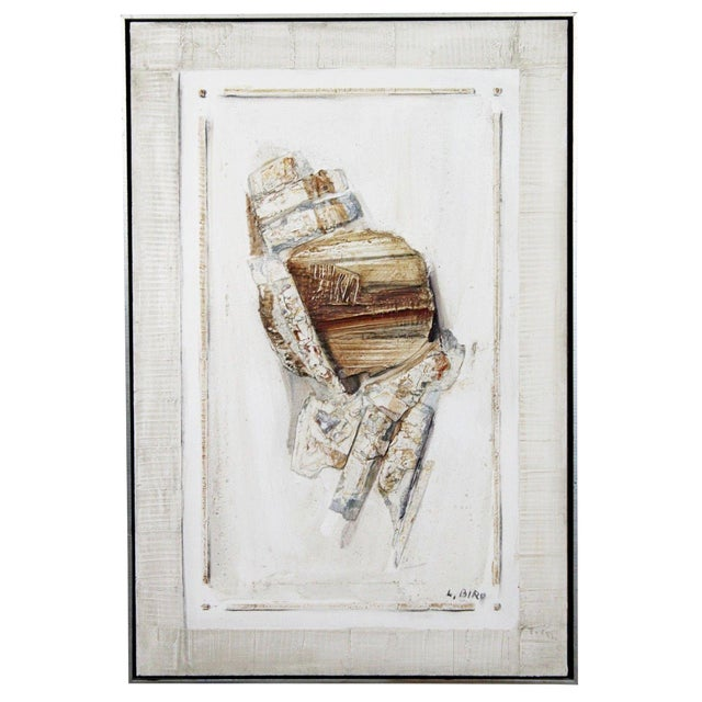 Mid Century Modern Mixed Media Impasto Acrylic Abstract Painting by L. Biro For Sale
