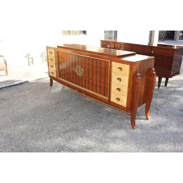 Spectacular French Art Deco Palisander And Sycamore Sideboard / Credenza Circa 1935s For Sale - Image 4 of 11