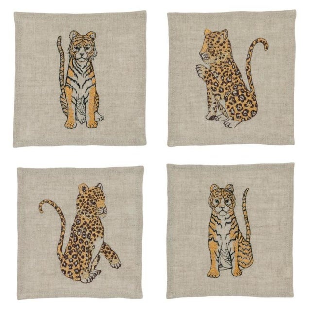 French Jaguars and Tigers Cocktail Napkins - Set of 4 For Sale - Image 3 of 3