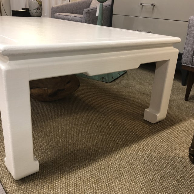1980s Linen Wrap Asian Style Coffee Table For Sale - Image 5 of 7