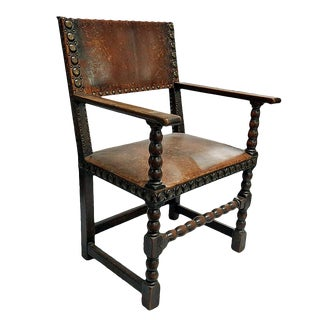 Vintage Leather & Wood Armchair For Sale