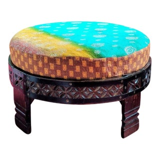 1980s Indian Hand-Carved Chakki Grinder Table For Sale