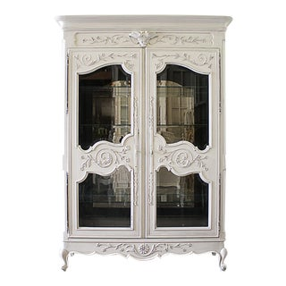 20th Century French Painted Display Armoire For Sale