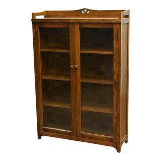 Crafters and Weavers Mission Bookcase / Curio Cabinet Walnut (W1) For Sale