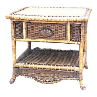 1980s Brown Wicker Nightstand For Sale