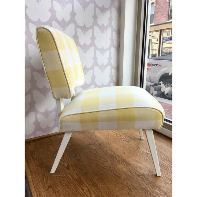 Mid-Century Yellow & White Gingham Chair - Image 2 of 6