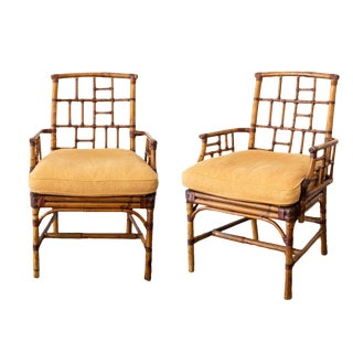 McGuire Bamboo Side Chairs- a Pair For Sale