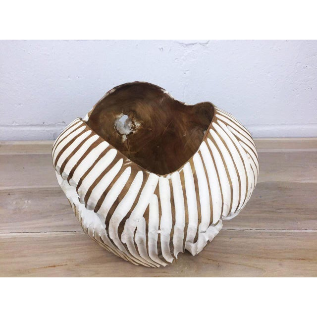 Modern Handmade Teak Wood Bowl For Sale - Image 3 of 11