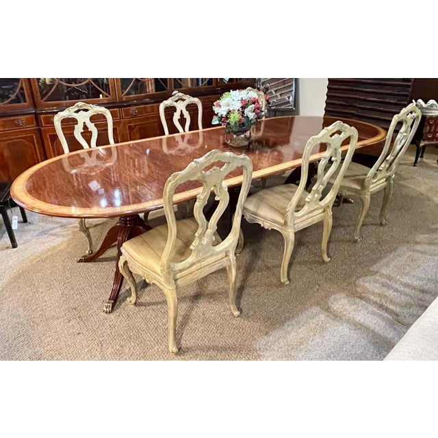 Traditional Regency Style Triple Pedestal Dining Room Table Banded and Fully Refinished For Sale - Image 3 of 13